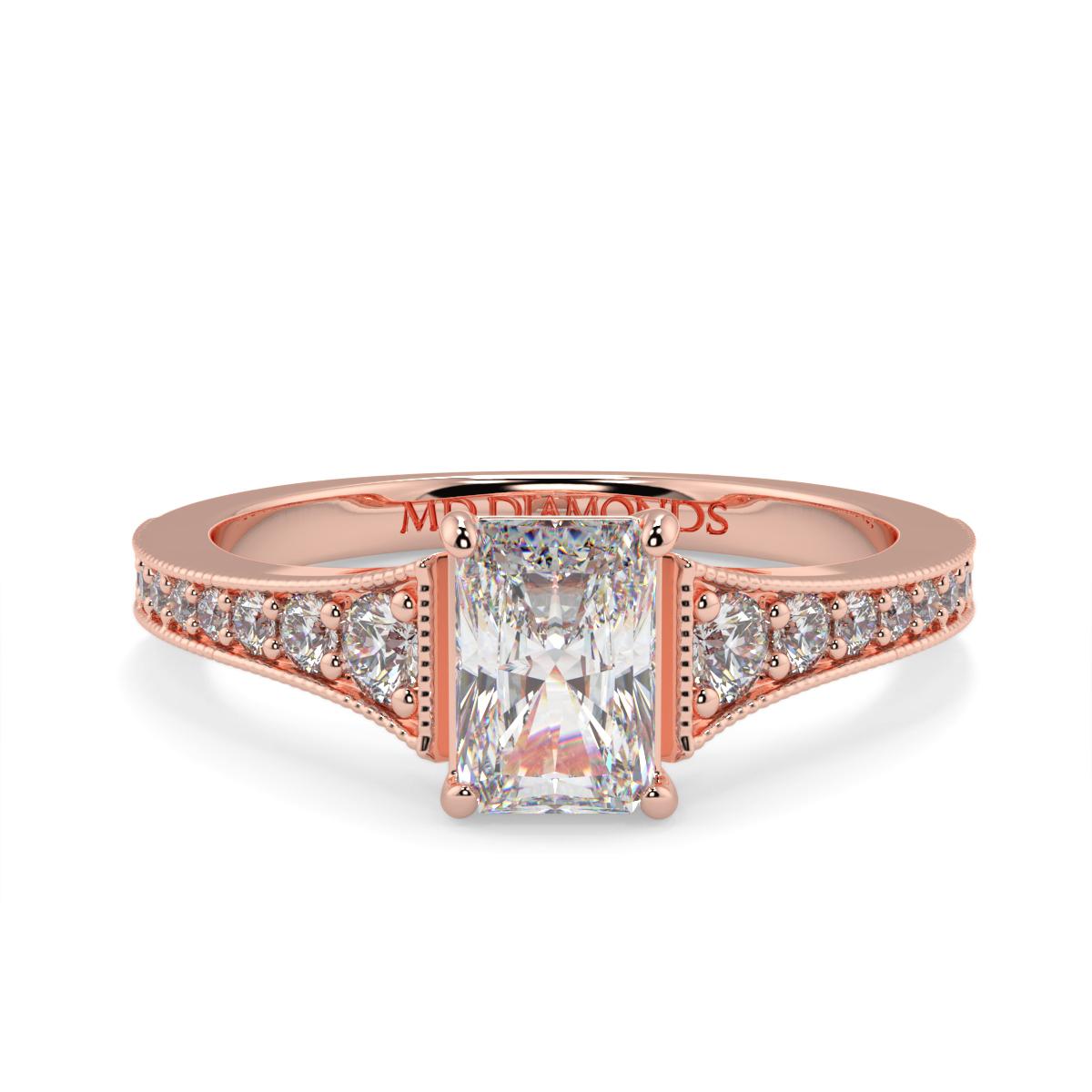 Radiant  Pave Grain Set Diamond Ring