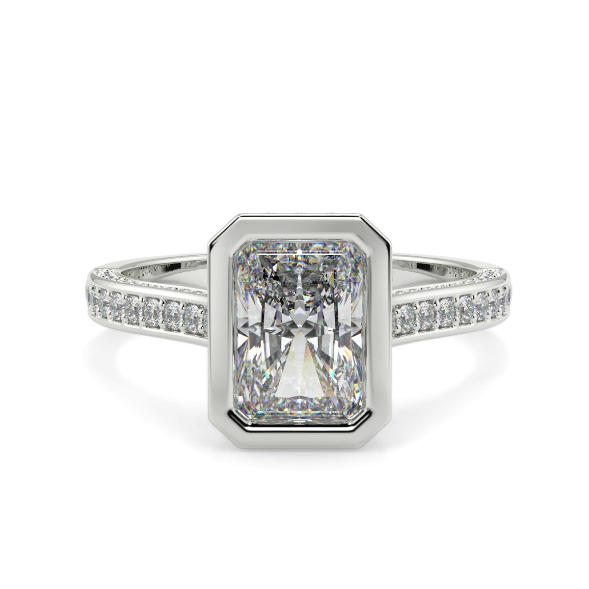 Radiant Pave Set Rubover Diamond Ring