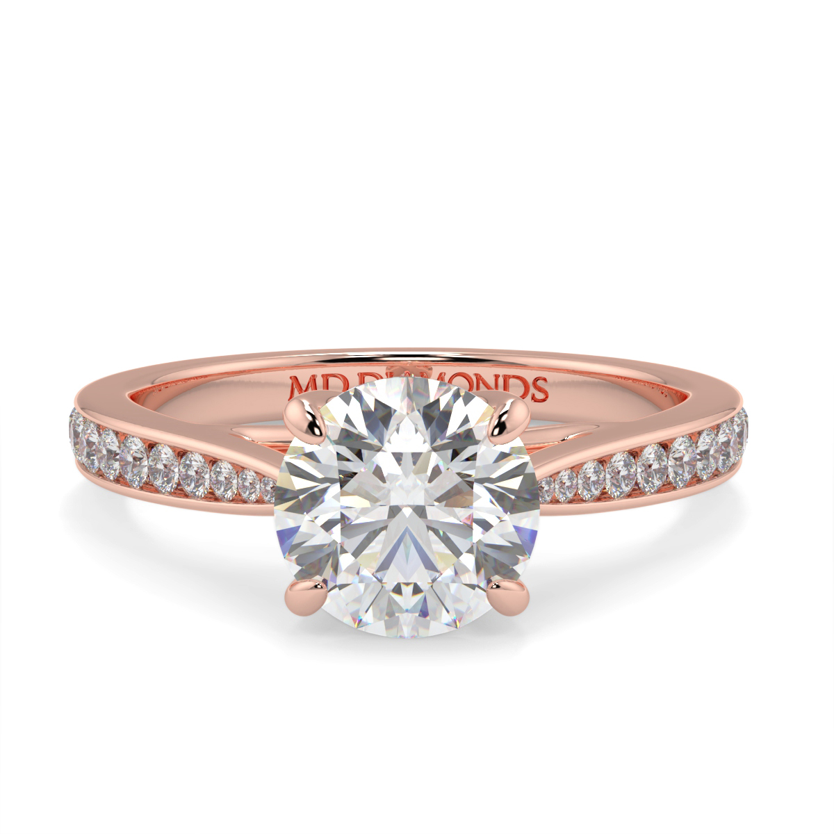 Round Channel Set Tappered Diamond Ring