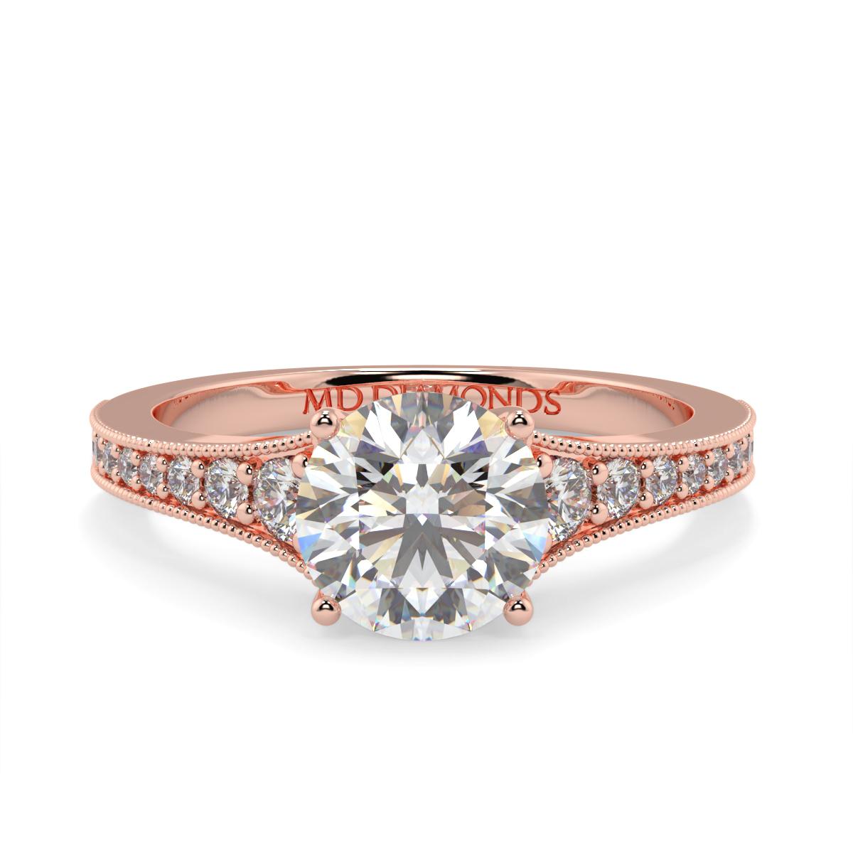 Round Pave Grain Set Diamond Ring