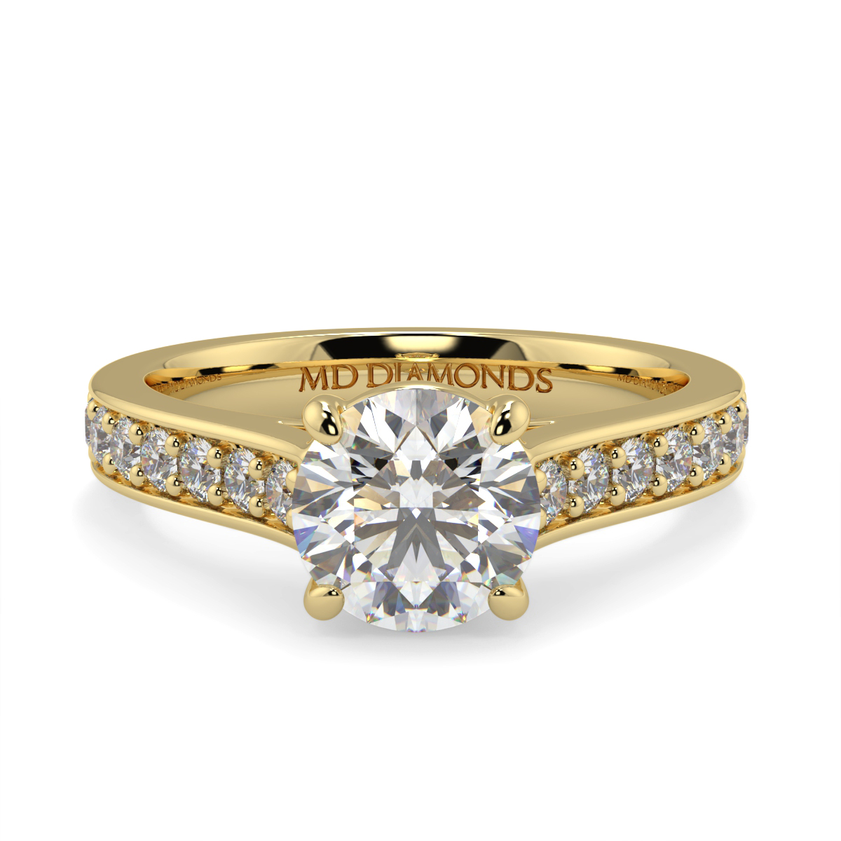 Round Pave Set Diamond Ring