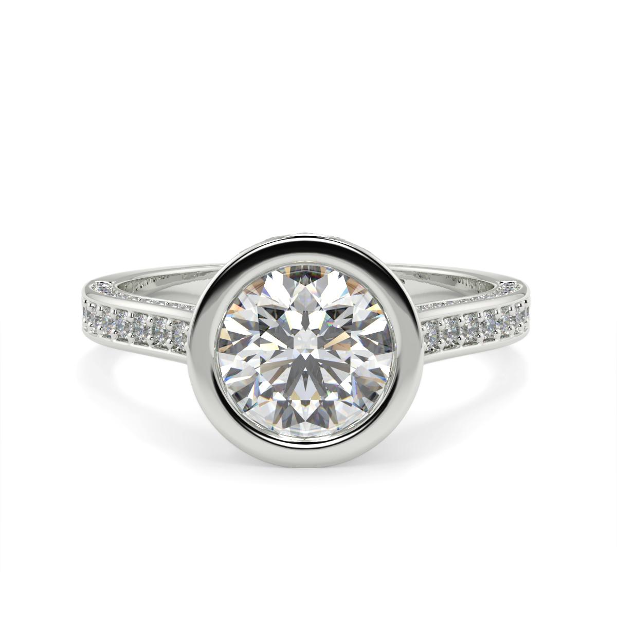 Round Pave Set Rubover  Diamond Ring