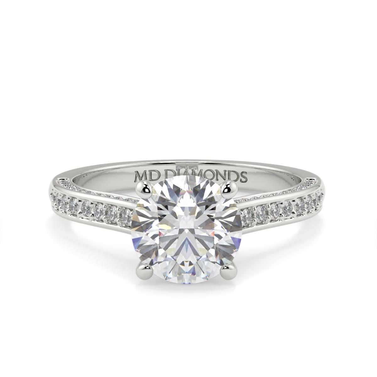 Round Pave Set Tulip Diamond Ring