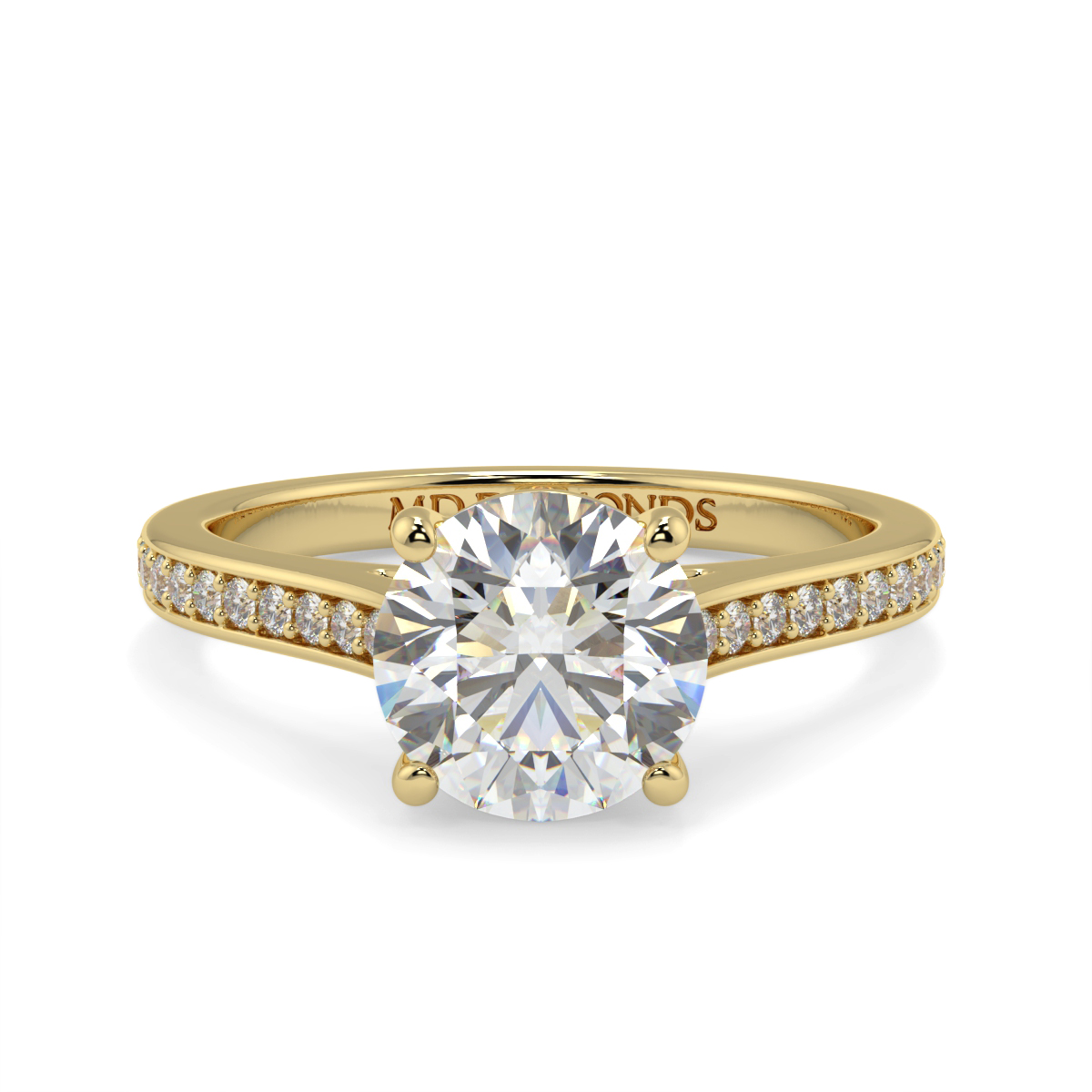 Round Pave Set Wed Fit Diamond Ring
