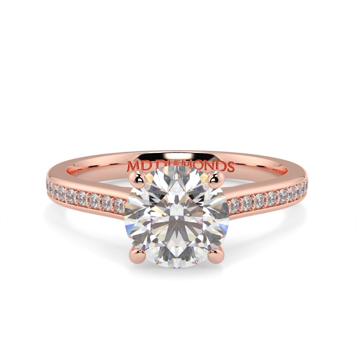 Round Pave Set Wed Fit Tulip Ring
