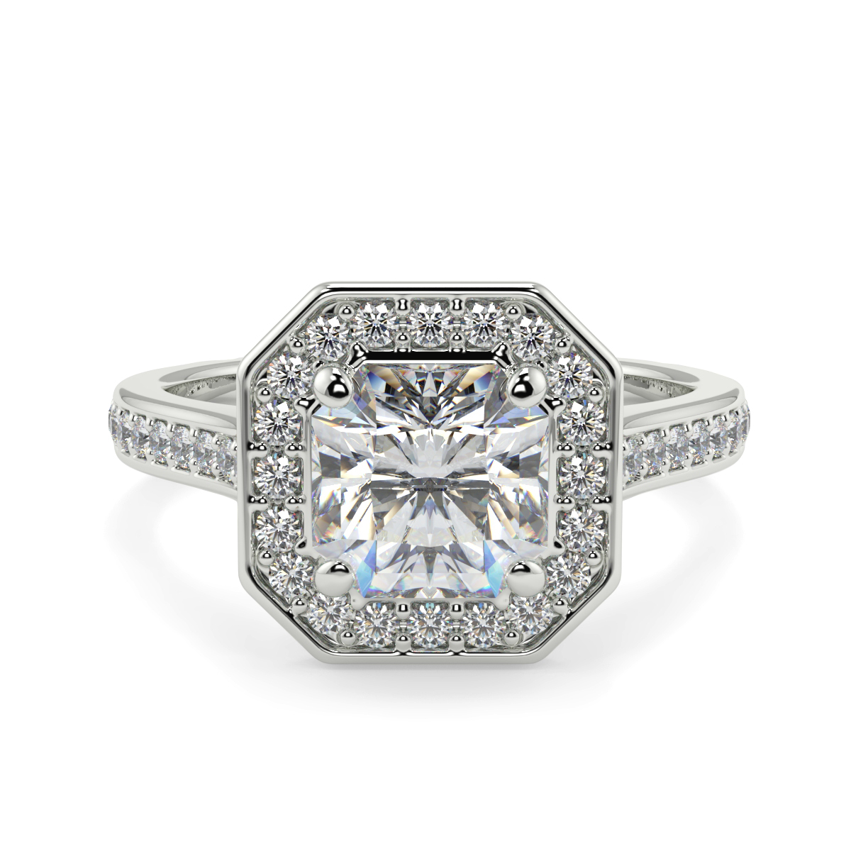 Asher Halo Pave Set Diamond Ring