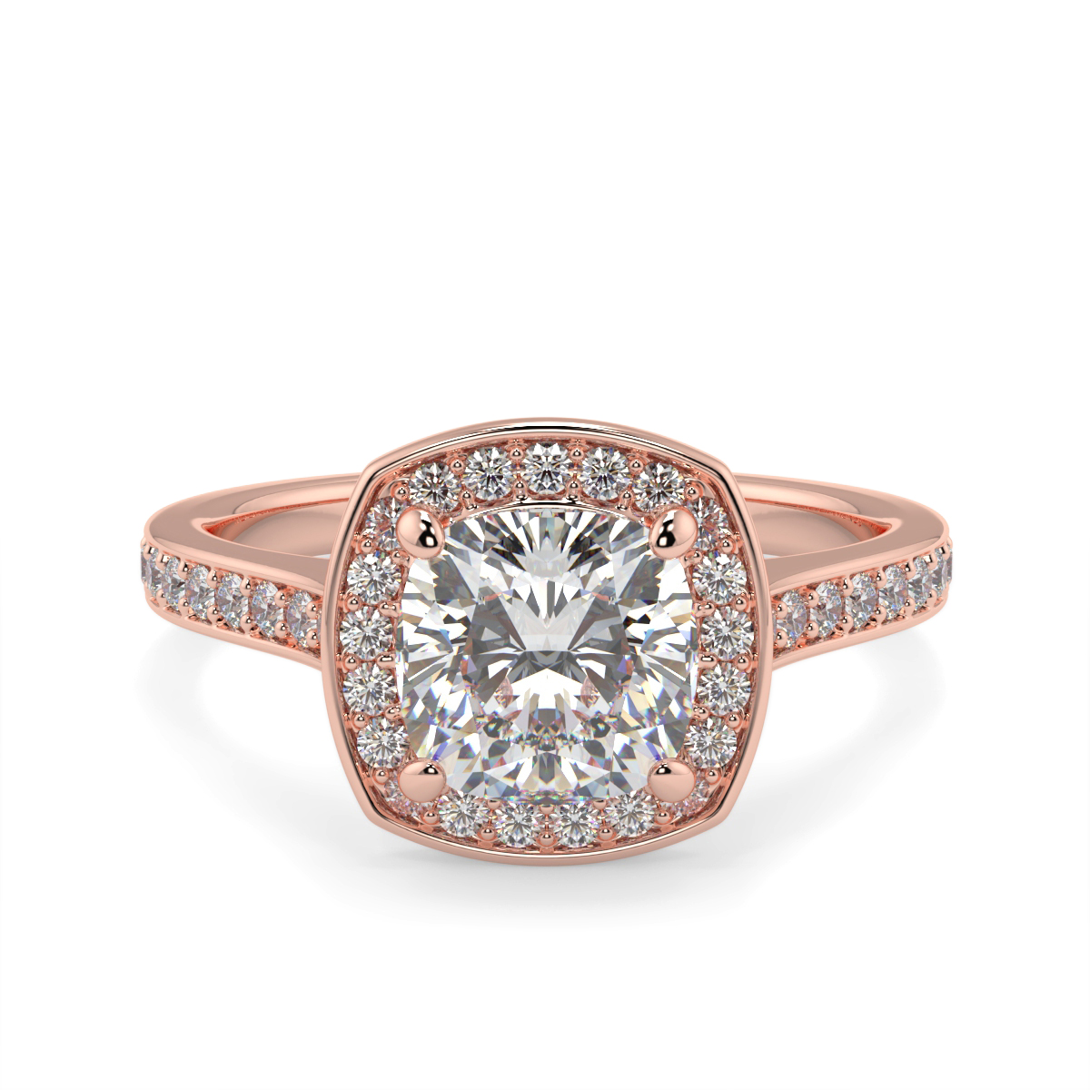 Cushion Halo Pave Set Diamond Ring