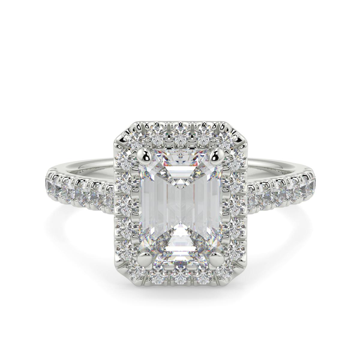 Emerald Microset Halo Ring