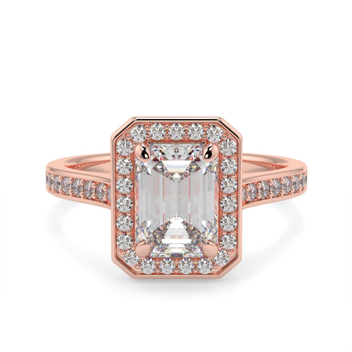 Emerald Pave Set Halo Ring