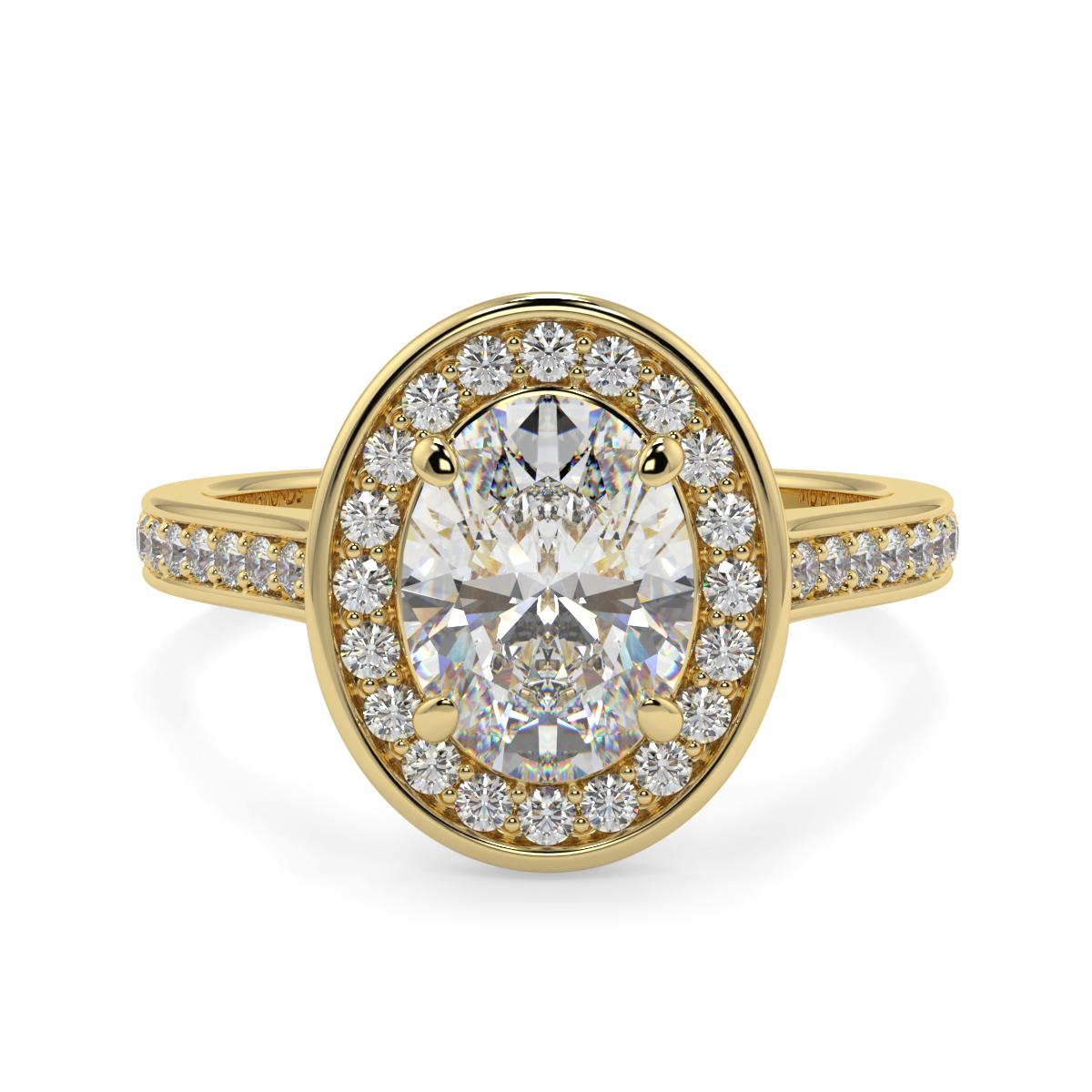 Oval Halo Pave Set Diamond Ring