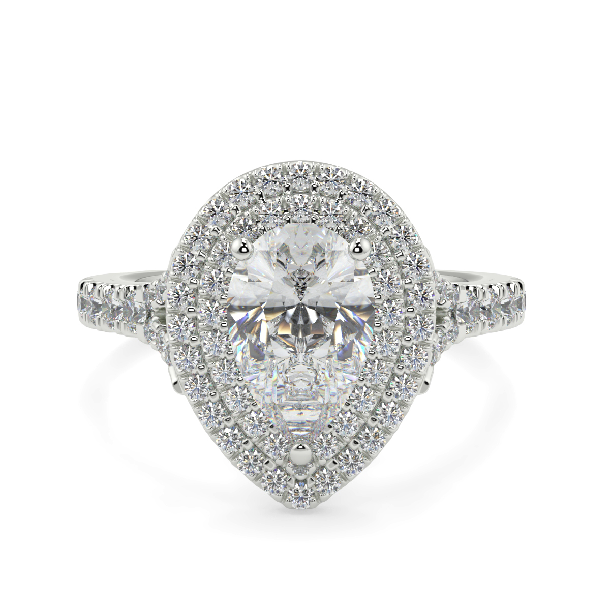 Pear Double Halo Microset Ring