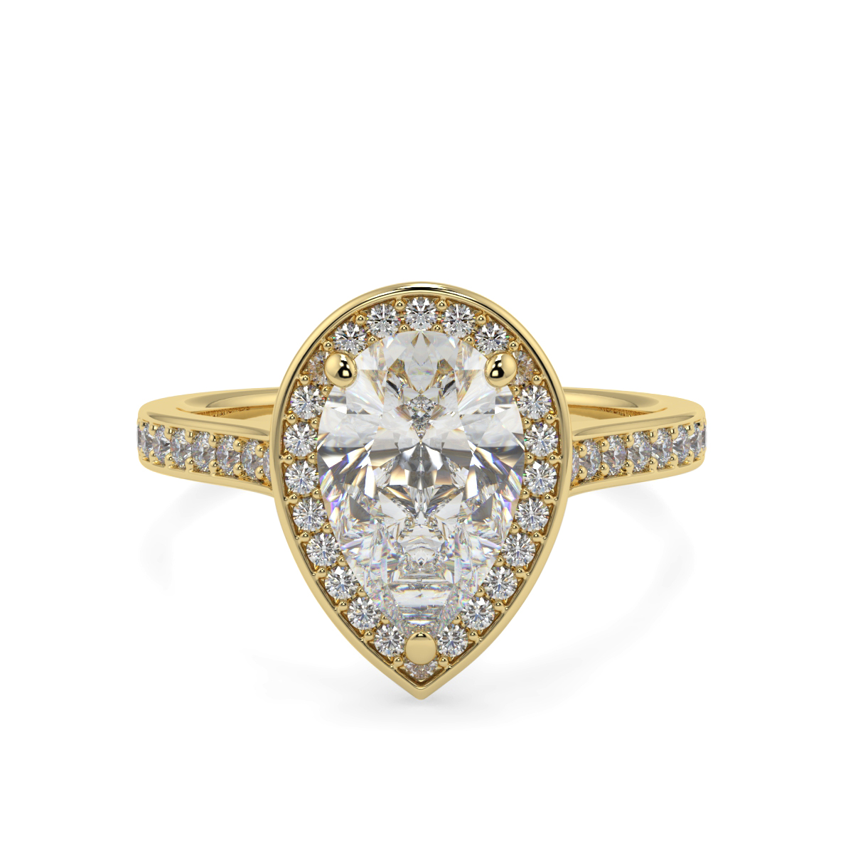 Pear Pave Set Halo Ring