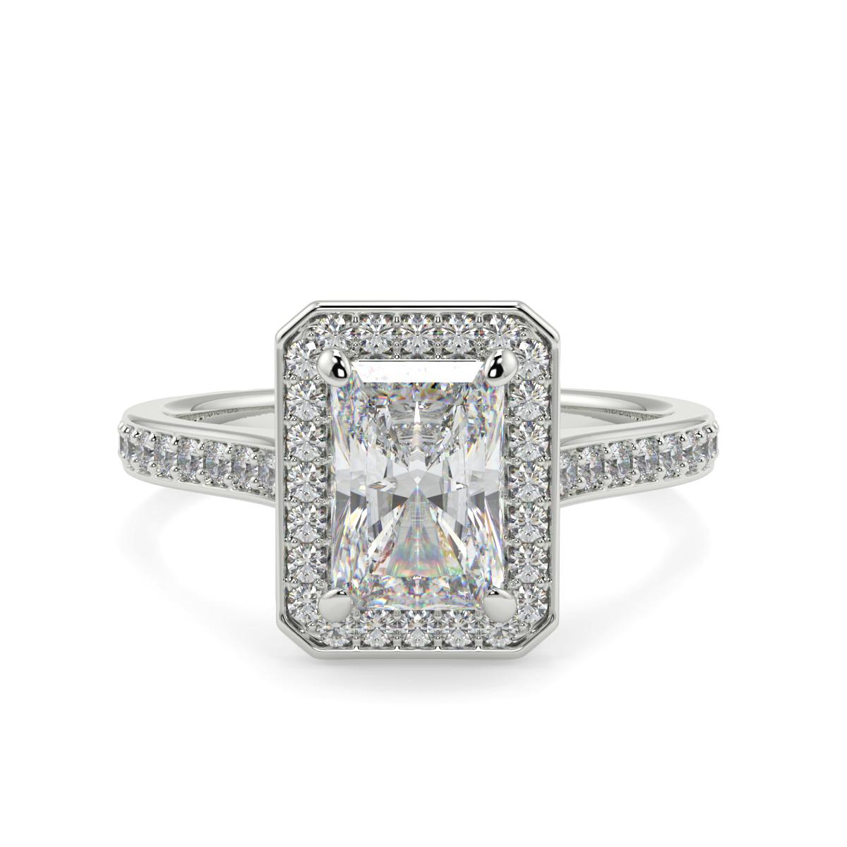 Radiant Pave Set Halo Ring