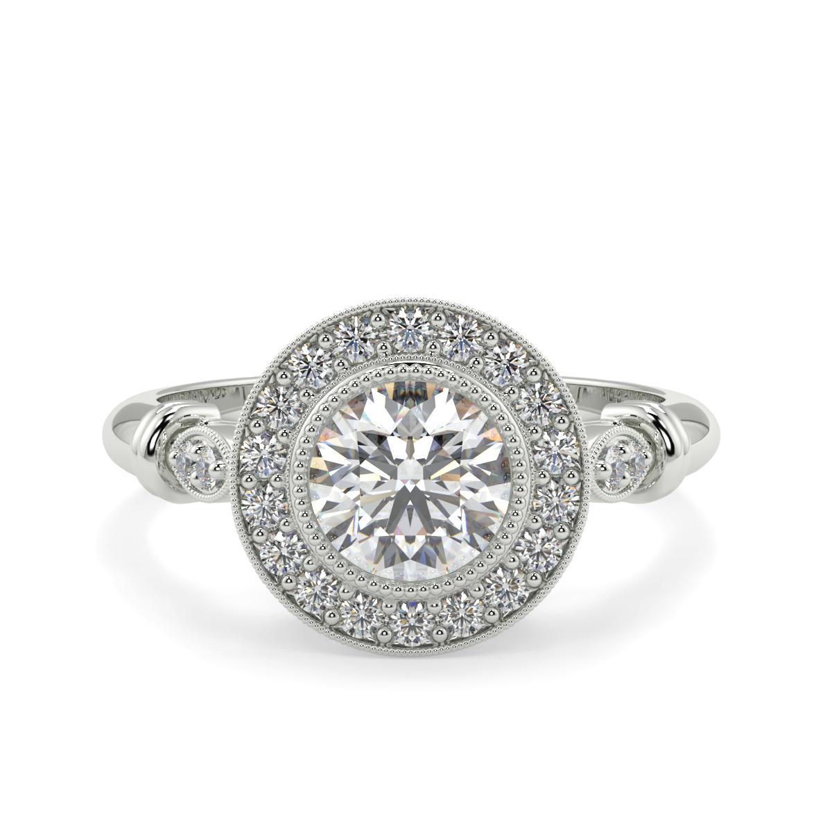 Round Prime Halo Diamond Ring