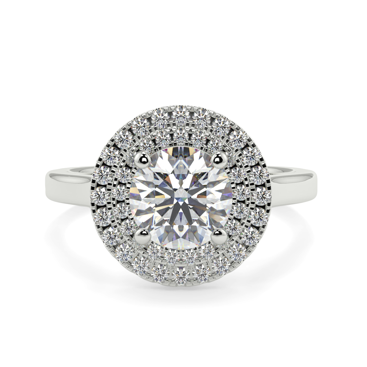 Round Double Halo Diamond Ring