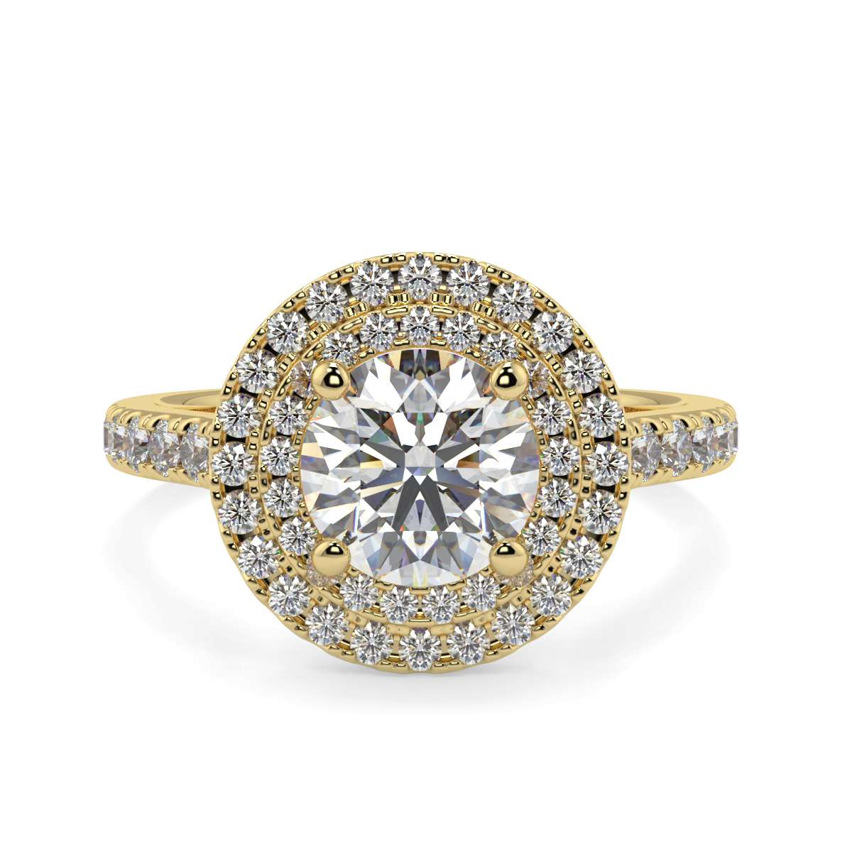 Round Double Halo With Shoulder Diamond Ring
