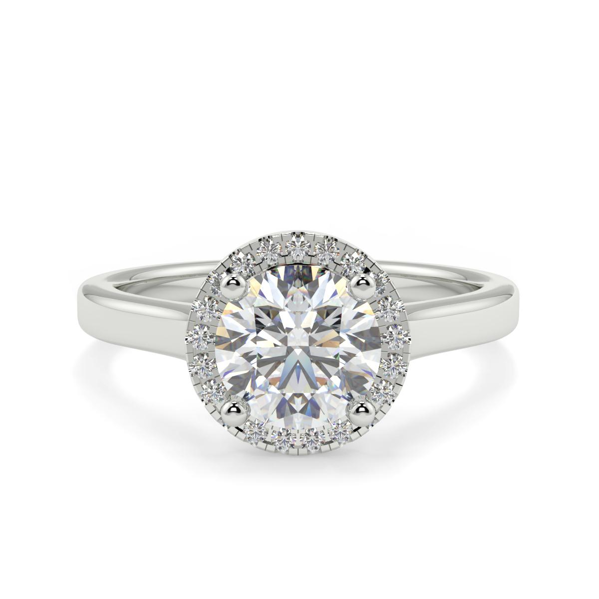 Round Single Halo Diamond Ring