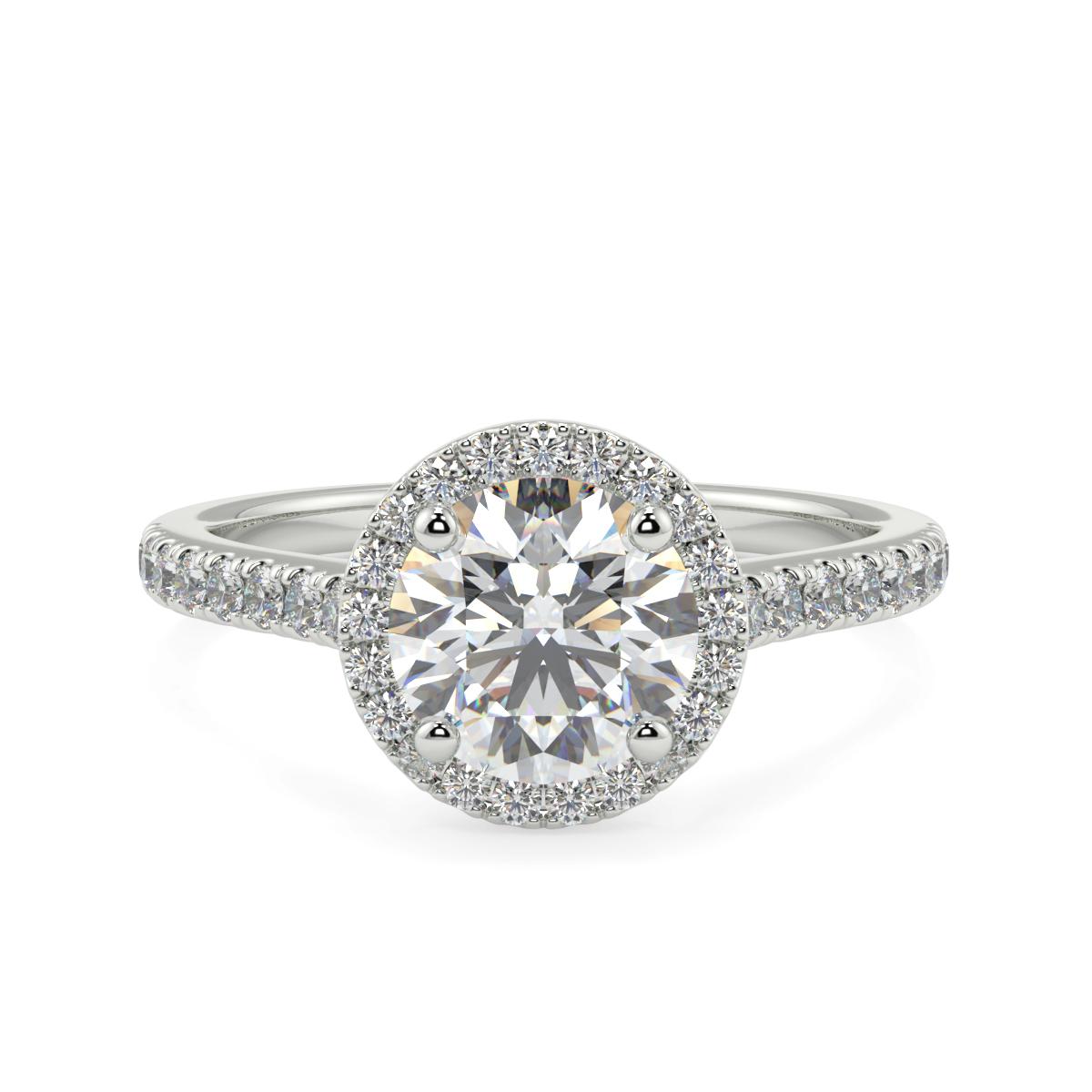 Round Single Halo Shoulder Diamond Ring