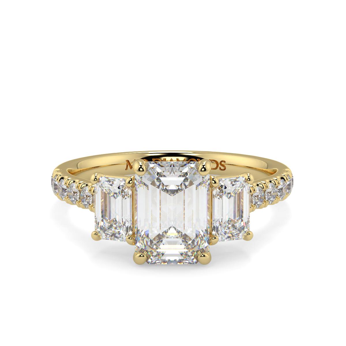 Emerald 3 Stone Microset Trilogy Ring