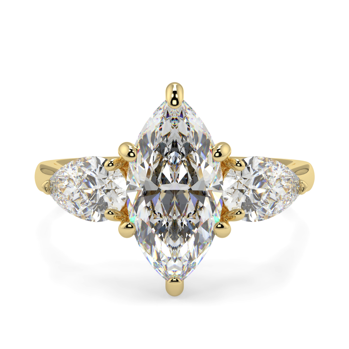 Marquise Wit Pear Trilogy Ring