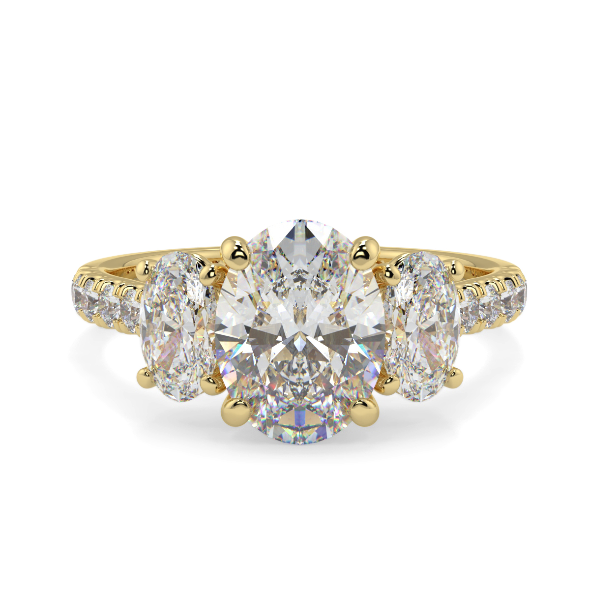Oval 3 Stone Microset Trilogy Ring