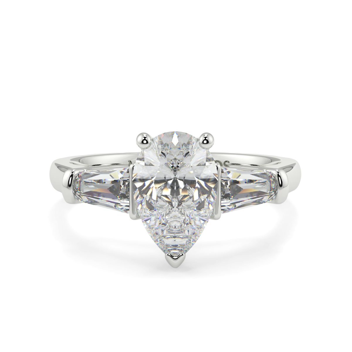 Pear With Baguett Trilogy Ring
