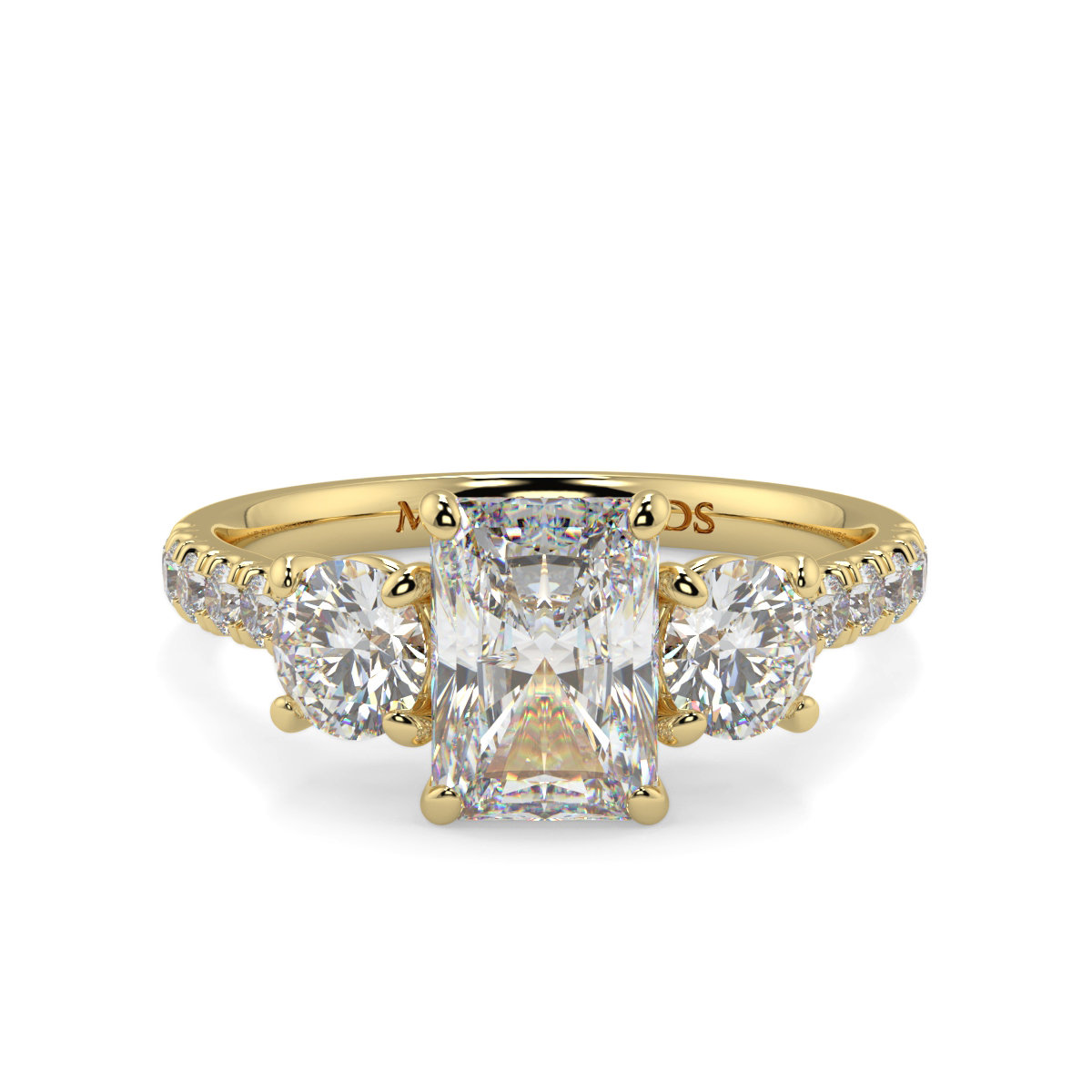 Radiant With Round Microset Trilogy Ring