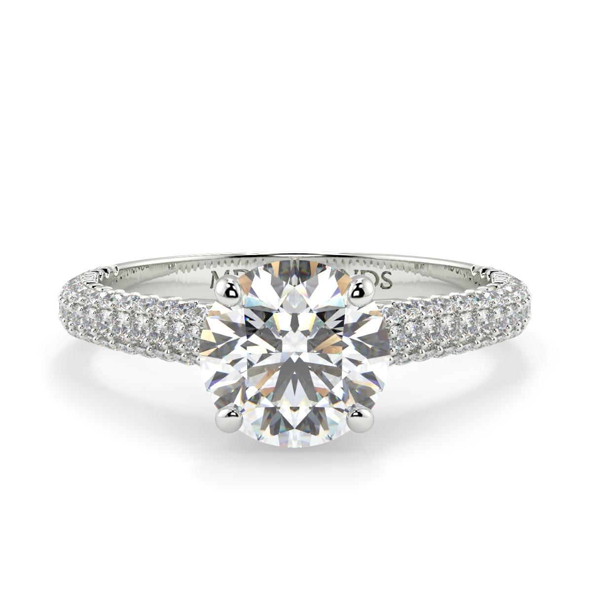 Round Mumbai Pave Set Diamond Ring