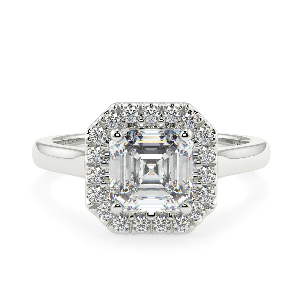 Assher Halo Microset Diamond Ring