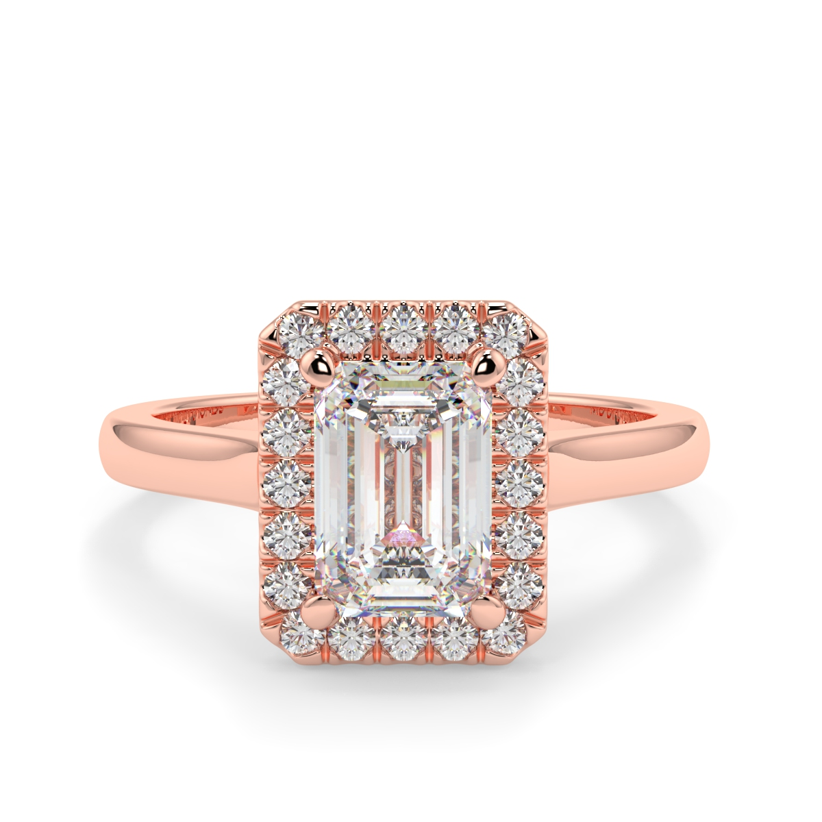 Emerald Microset Halo Diamond Ring