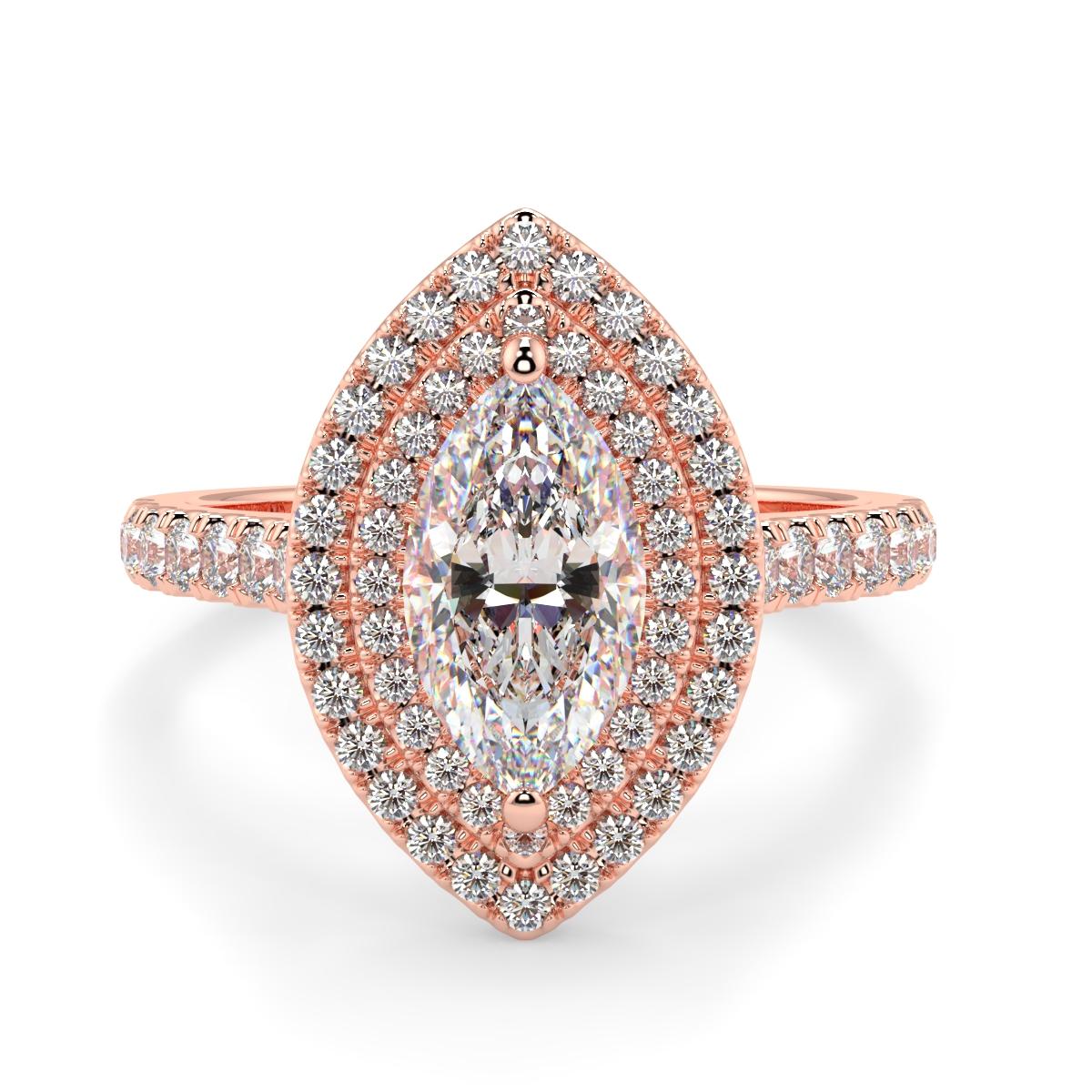 Marquise Microset Double Halo Diamond Ring