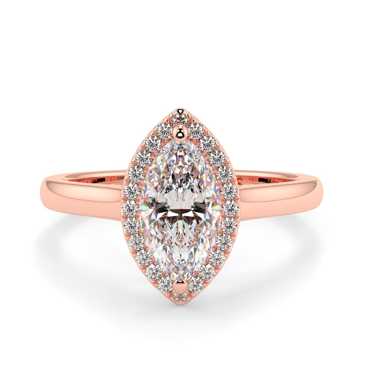 Marquise Microset Single Halo Diamond Ring