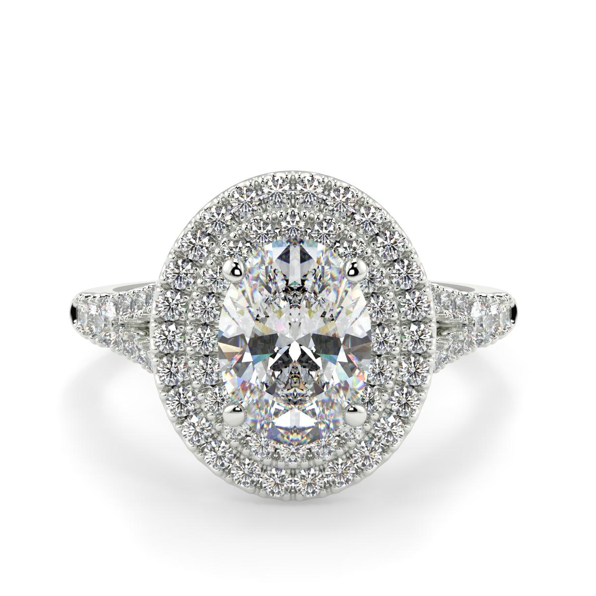Oval Microset Double Halo Diamond Ring