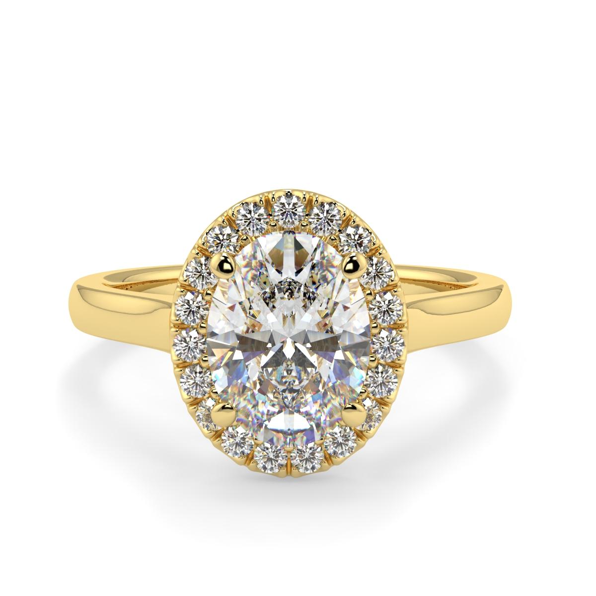 Oval Microset Single Halo Diamond Ring