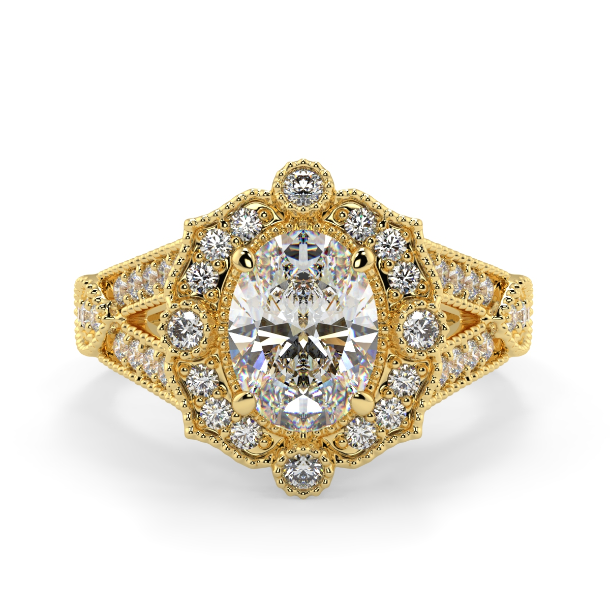 Oval Pave Set Victorian Ring