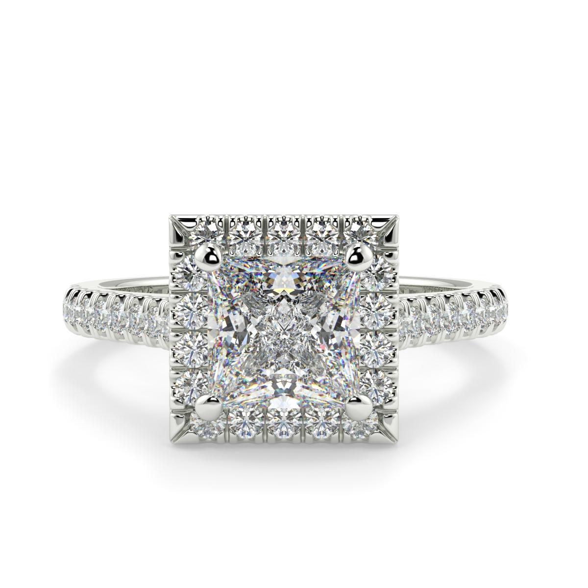 Princess Microset Halo Diamond Ring