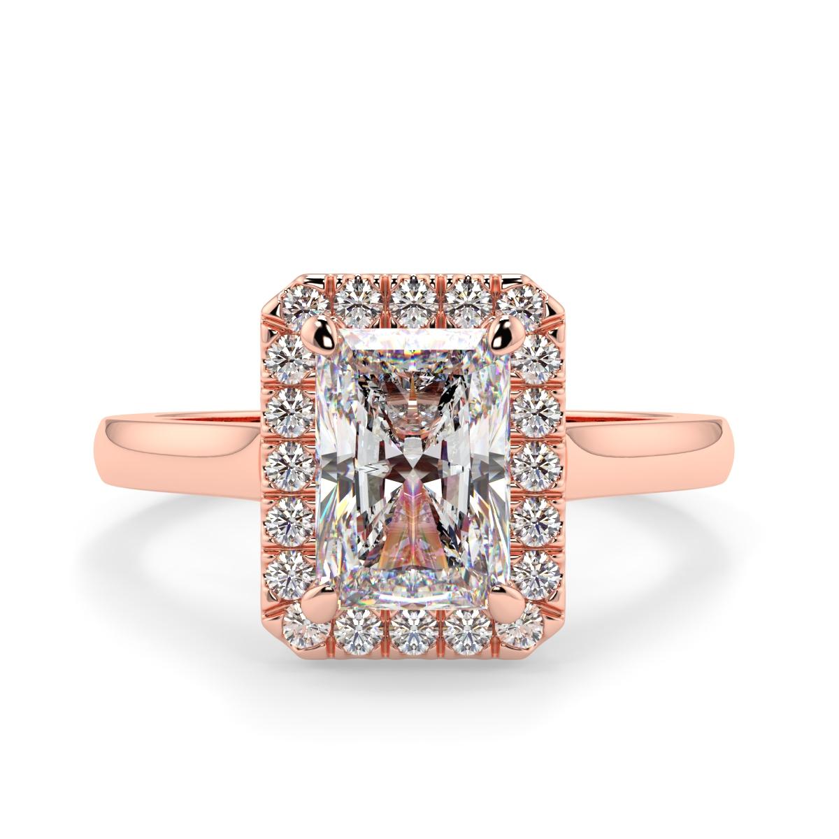 Radiant Microset Halo Diamond Ring