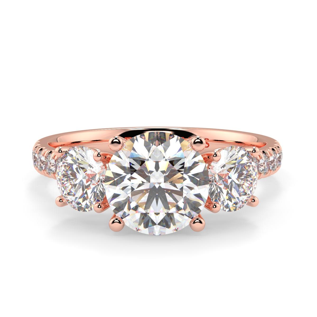 Round Microset Triology Diamond Ring