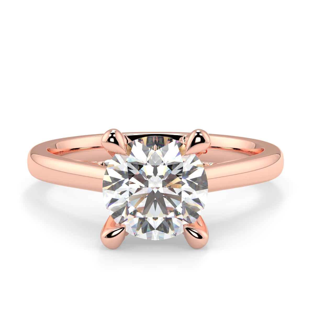 Solitaire Microset Claws Diamond Ring