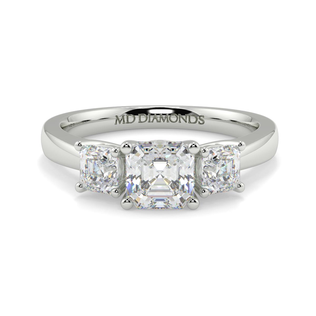 Assher Cut Triology Ring