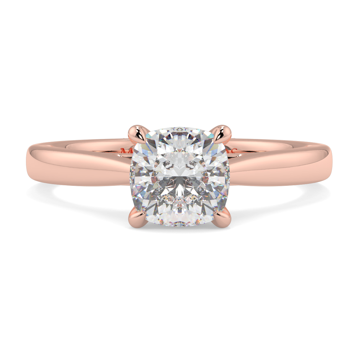 Cushion 4 Claw Solitaire Ring