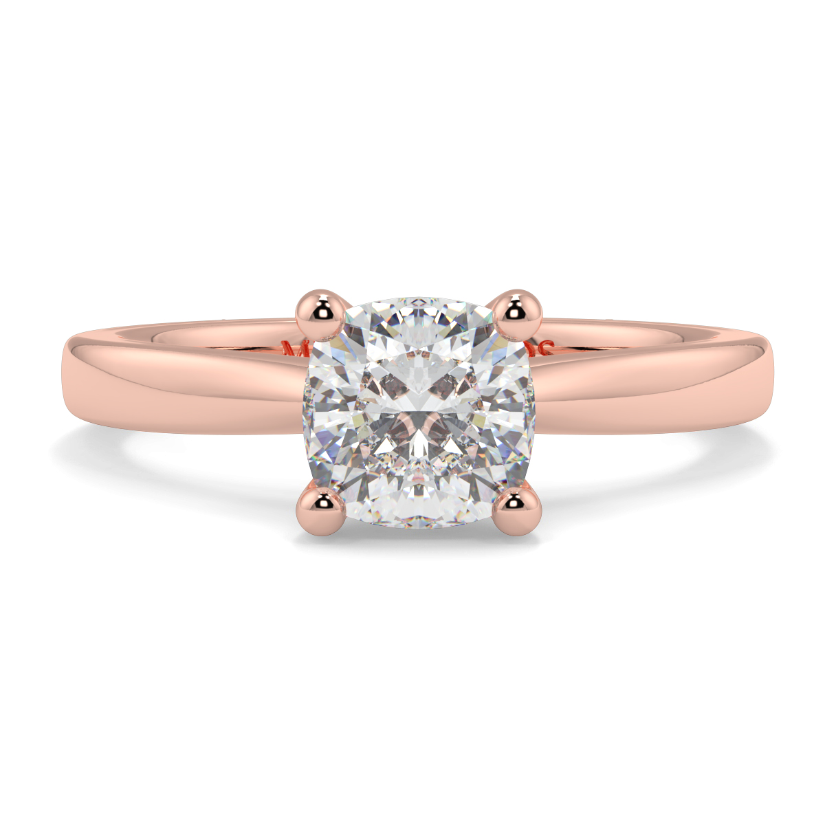Cushion 4 Claw Tappered Solitaire Ring