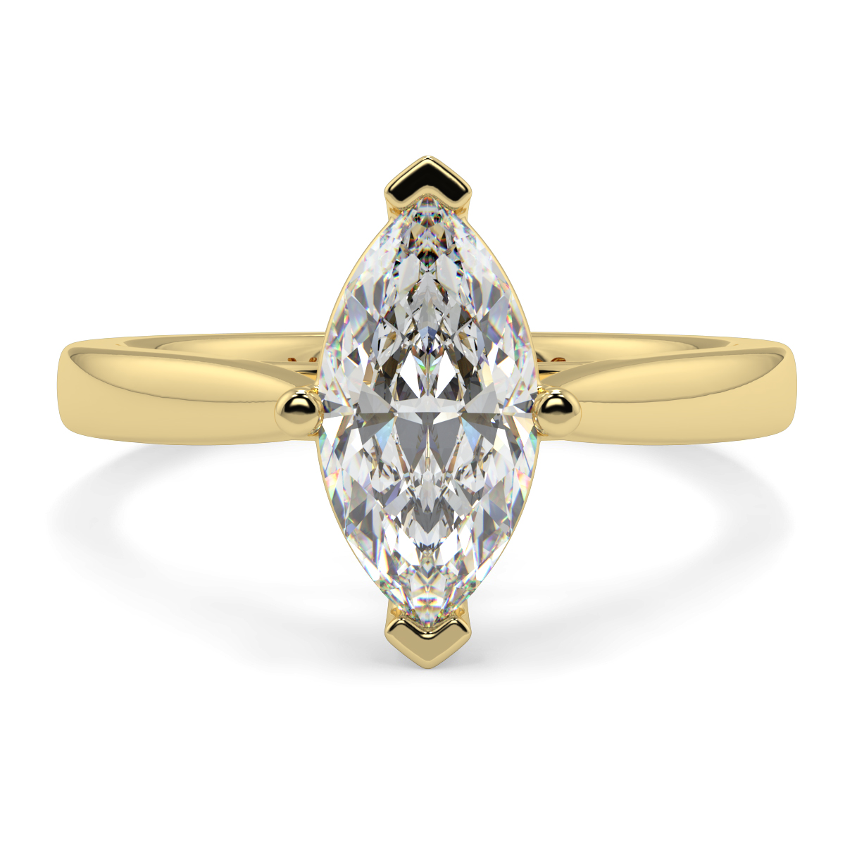 Solitaire 4 Claw Marquise Tappered  Ring