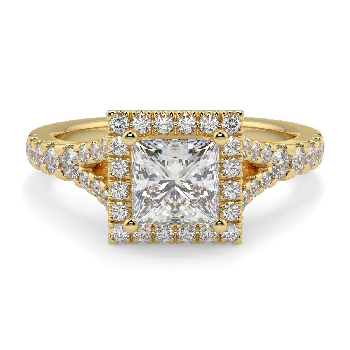 Princess Microset Halo Split Shank Diamond Ring