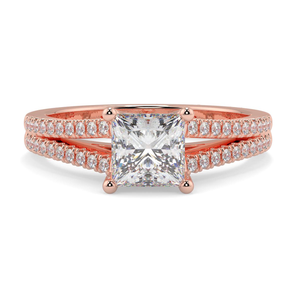 Princess Micro Set Split Shank Diamond Ring