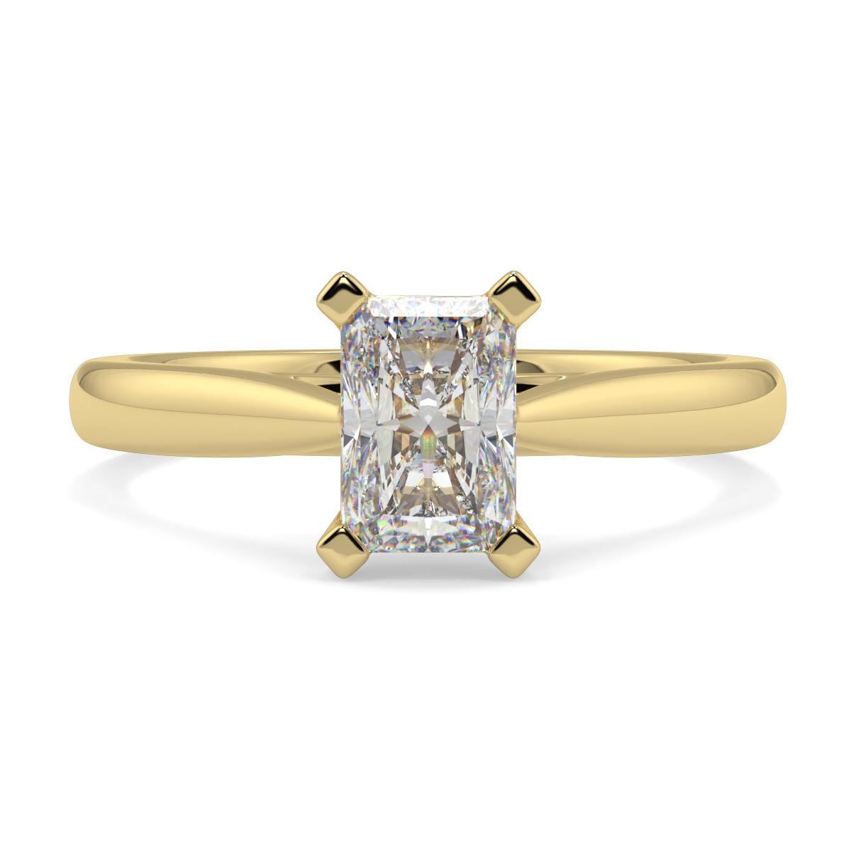 Radiant 4 Claw Solitaire Tappered  Ring