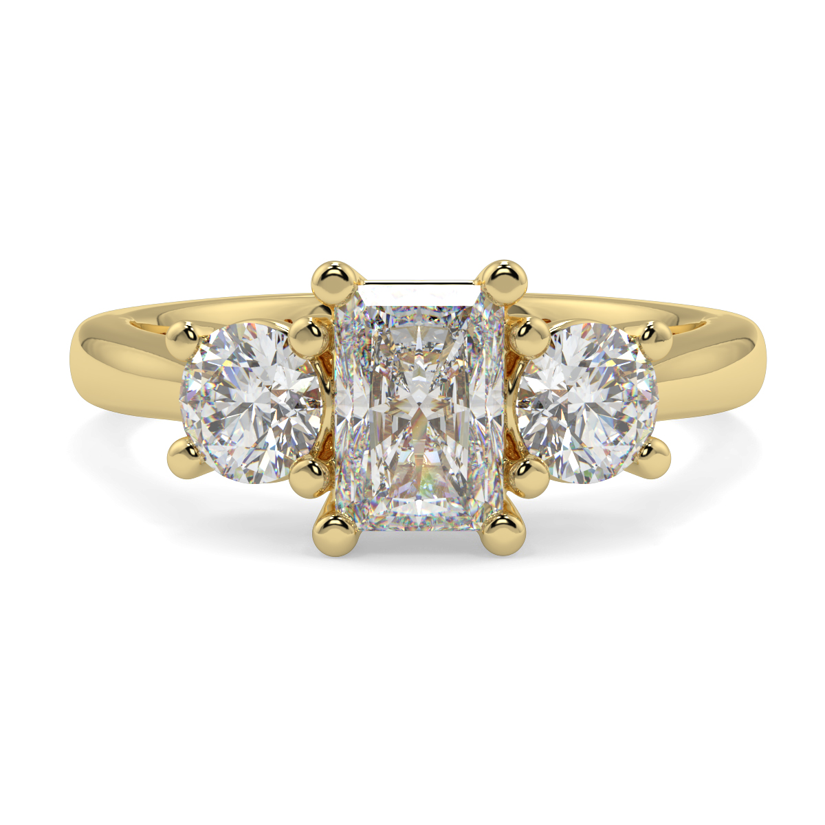 Radiant With Round Trilogy Ring