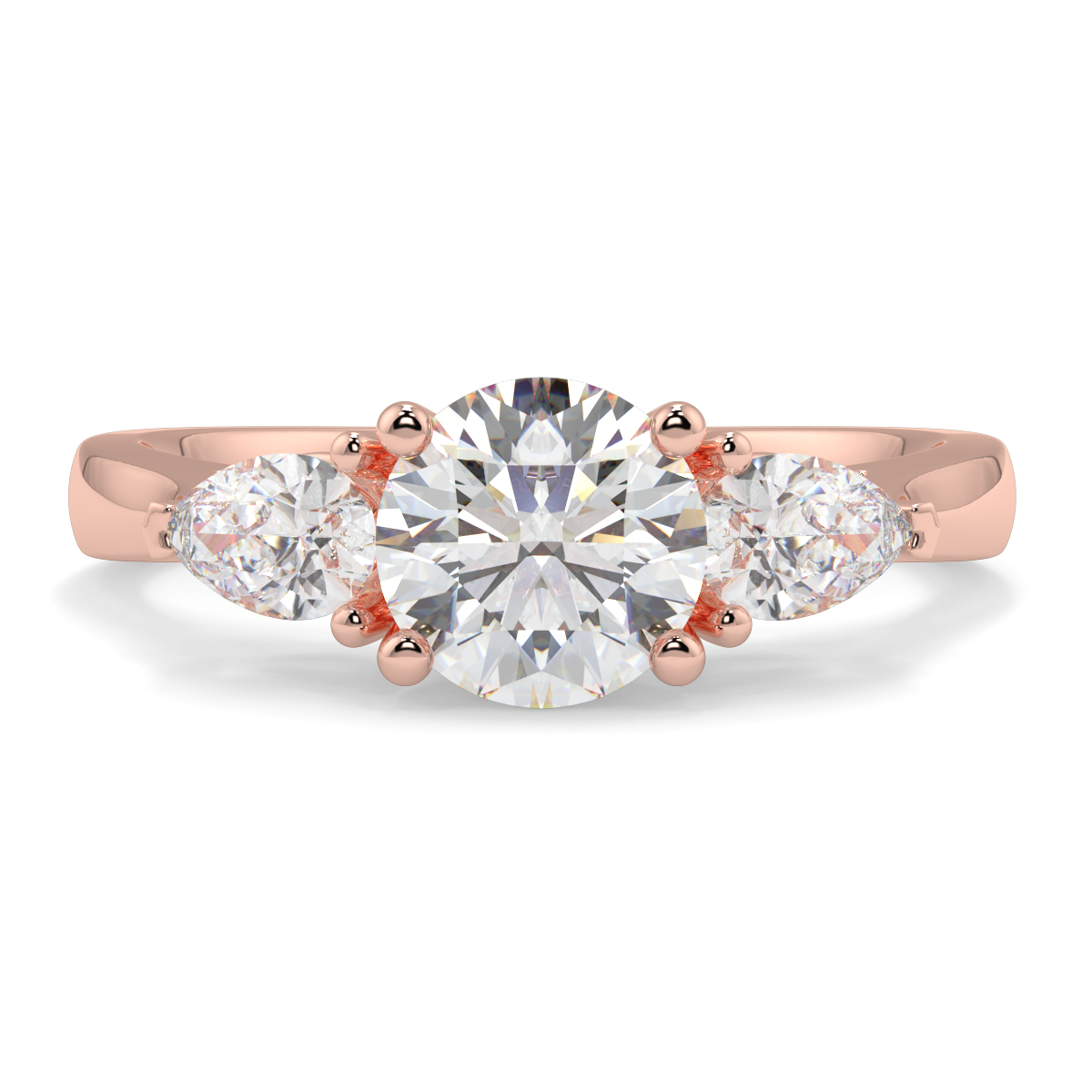 Round With Pear Trilogy Diamond Ring